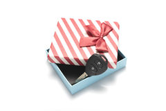Car key and gift box Royalty Free Stock Photo