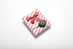 Car key and gift box Stock Photography
