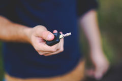 Car key in hand stock photography
