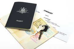 Car key with holiday documents Royalty Free Stock Photography