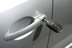 Car key in the hub. Car key in the door car hub royalty free stock images
