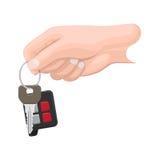 Car Key in Human Hand Flat Vector Illustration Royalty Free Stock Photo