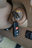Car key in ignition start lock. Closeup Royalty Free Stock Photography