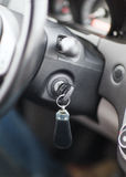 Car key in ignition start lock Royalty Free Stock Image