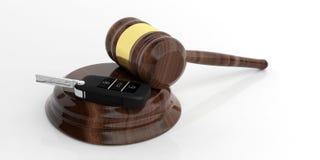 Car key and judge gavel on white 3d illustration Stock Photos