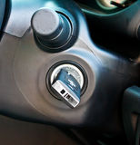Car key in key hole Royalty Free Stock Image