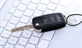 Car key on keyboard Royalty Free Stock Photography