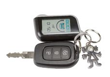 Car key and keychain fob. Isolated on white background Stock Photo