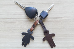 Car key and leather keychain. Royalty Free Stock Images