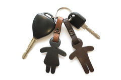 Car key and leather keychain. Stock Photo