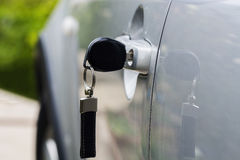Car key. Left in the car door Royalty Free Stock Image