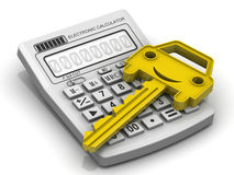 Car key lies on electronic calculator Stock Photo