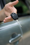 Car key in male hand Royalty Free Stock Photos