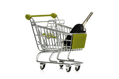 Car key in a shopping trolley Royalty Free Stock Image