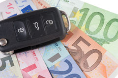 Car Key and Money Royalty Free Stock Photography