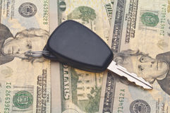 Car Key on Money Background Royalty Free Stock Photo