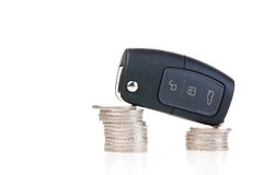 Car key and money - car costs concept Royalty Free Stock Photo