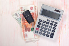 Car Key and money Stock Photo