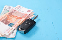 Car Key and money Stock Photos