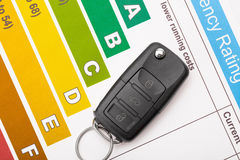 Car key over colorful efficiency chart - view from top Royalty Free Stock Photography