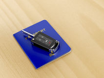 Car key and passport Stock Photography