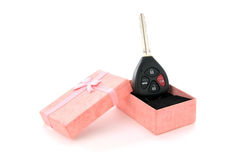 Car key in a Pink Gift Box Royalty Free Stock Photo