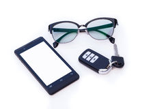 Car key remote, Black Eye Glasses, Smartphone, mobile phone. Isolated on white background Stock Image