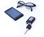 Car key remote, Black Eye Glasses, Smartphone, mobile phone. Isolated on white background Royalty Free Stock Images