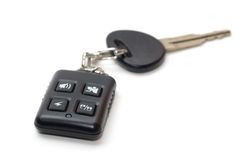 Car key with remote control. On a white Royalty Free Stock Image