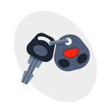 Car key with remote control automobile security lock and alarm transportation new unlock object car wireless technology Royalty Free Stock Images