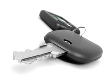 Car key with remote control closeup on white background. Stock Images