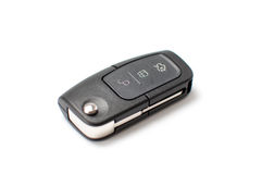 Car key with remote control isolated on white Stock Photography