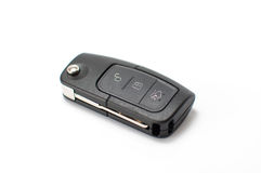 Car key with remote control isolated on white Royalty Free Stock Photo