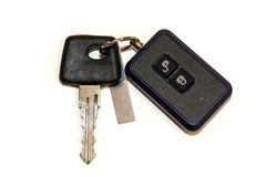 Car key with remote control on white. Background Stock Image