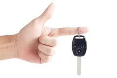 Car key remote with hand Royalty Free Stock Photo