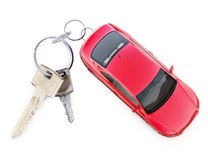 Car with key ring concept. Red car with key ring Stock Photos