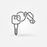 Car key ring icon. Vector outline symbol or design element Stock Images
