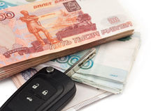 Car key and russian money Royalty Free Stock Photos