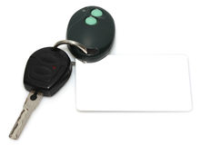 Car key, showing a blank tag for custom text. Car key with wireless remote, showing a blank tag for custom text Royalty Free Stock Photography