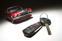 Car Key and Sports Car Royalty Free Stock Photography