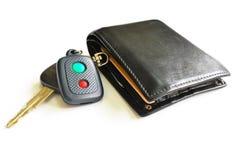 Car key & wallet. Men wallet and a car key Stock Image