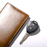 Car key with wallet. Isolated on white background Stock Image