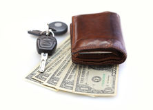 Car-key, wallet and money Stock Images