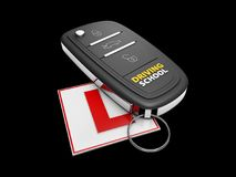 Car key on the white learner driver sign, isolated black, 3d Illustration.  Royalty Free Stock Image