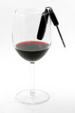 Car key in a wine glass, drunk driver Royalty Free Stock Photo