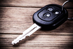 Car key. On wooden background Royalty Free Stock Images