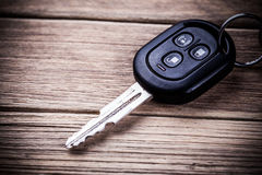 Car key. On a wooden background Stock Photography