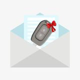 Car key wrapped with red ribbon Royalty Free Stock Images