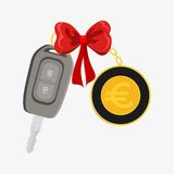 Car key wrapped with red ribbon Royalty Free Stock Photos