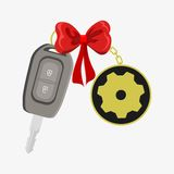 Car key wrapped with red ribbon Royalty Free Stock Image